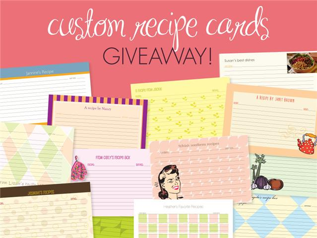 Giveaway: personal recipe cards!