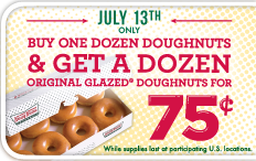 photo relating to Krispy Kreme Printable Coupons referred to as Krispy Kreme: Obtain one particular dozen, choose minute for $0.75 (Tomorrow