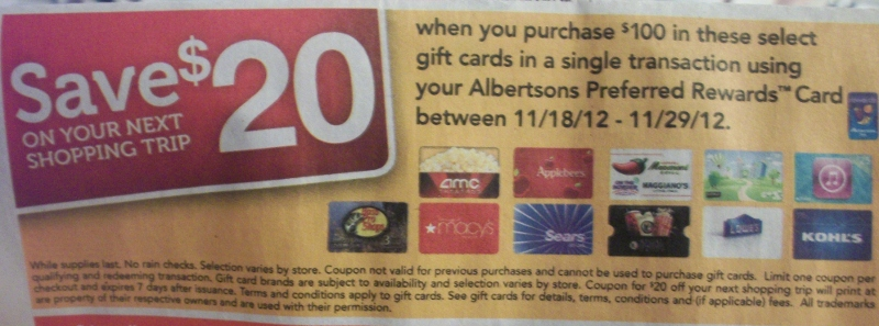 Albertsons Gift Card Promotion