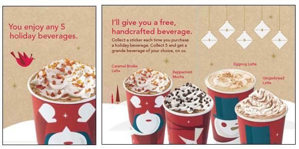 Starbucks Christmas Drinks.Starbucks 12 Days Of Giving And Holiday Buy 5 Get 1 Free