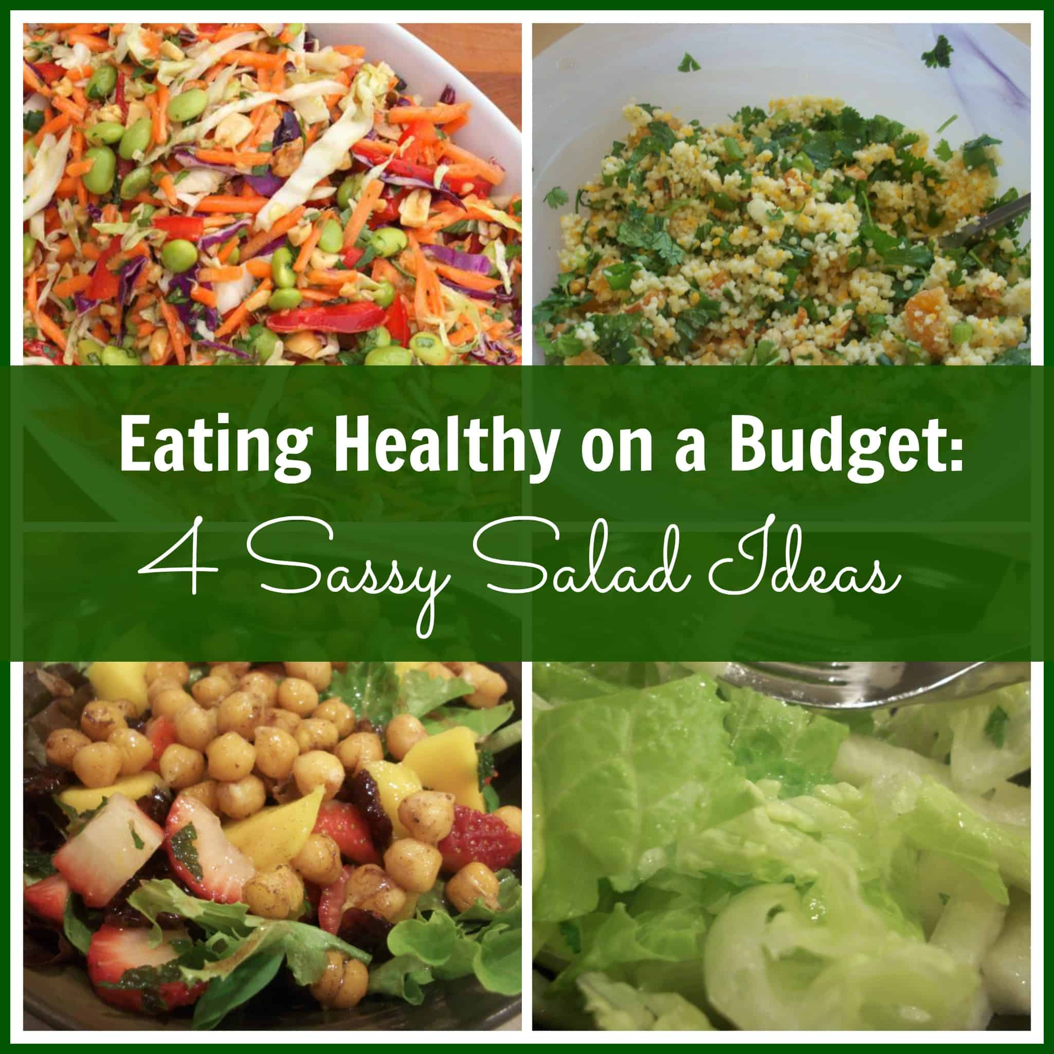 Salads don't have to be boring - here are four different budget-friendly recipes to mix up your lunch a bit!