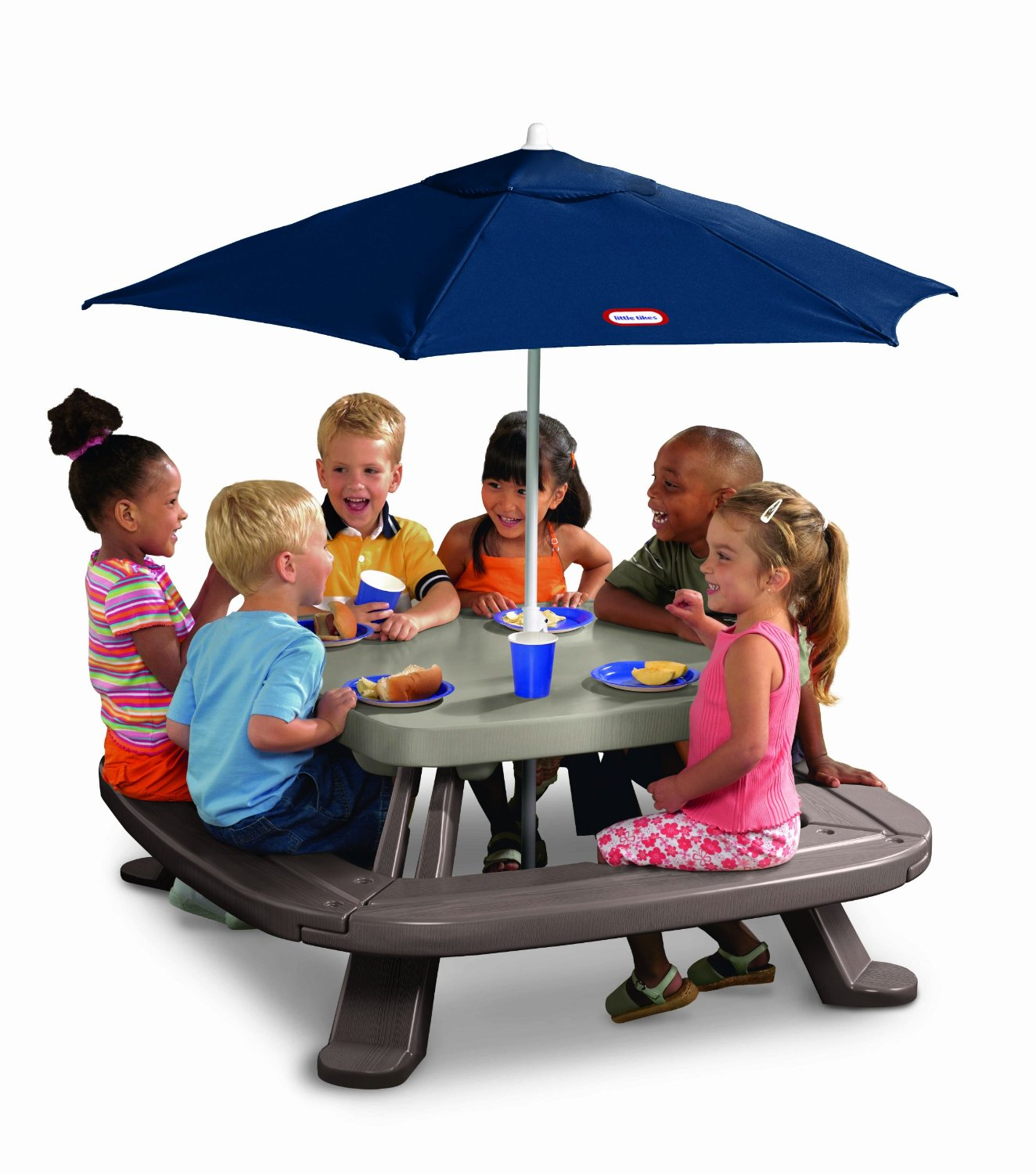 little tikes fold n store table with umbrella 79 shipped reg 129 seats up to 8 kids. Black Bedroom Furniture Sets. Home Design Ideas