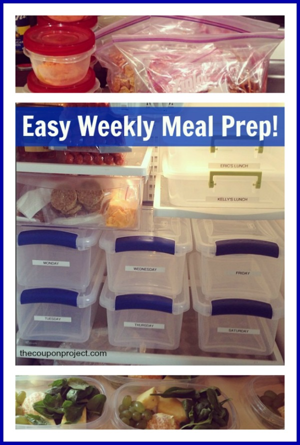 Easy Weekly Meal Planning Prep – simple idea using plastic containers to organize your fridge and make your life easier.