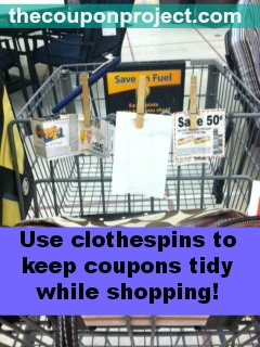Use Clothespins to Keep Coupons Tidy