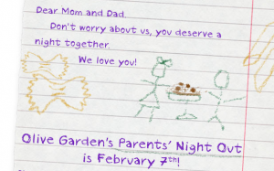 Free date night at olive garden when you bring your kids to my gym on friday 2 7 for Take me to the nearest olive garden