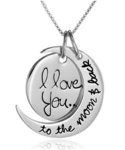 Sterling Silver I Love You To The Moon and Back Two-Piece Pendant Necklace, 18
