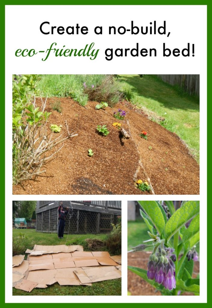 This is frugal gardening at its finest! Use materials you already have at home to create a no-build garden space! Eco-friendly and great for flower and veggie gardens!