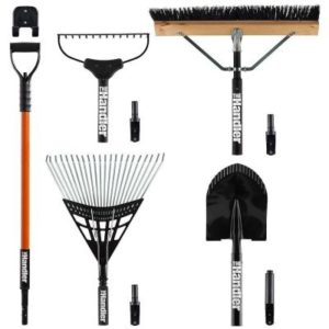 Lawn and Garden 5-Piece Tool Set with Garage Storage System