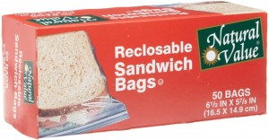Natural Value Reclosable Sandwich Bags, 50 Bags