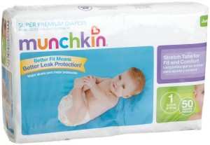 Munchkin Super Premium Diapers, Size 1 Small Ultra (8-14 Pounds), 200 Count