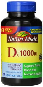 Nature Made Vitamin D3 1000 IU, Mega Size, 300-Count Liquid Softgels