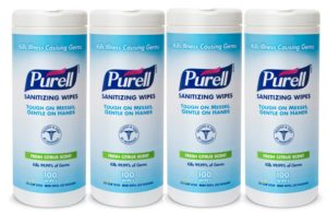 PURELL 9111-04-EC Sanitizing Wipes, 100 Count Canister, 4-Pack