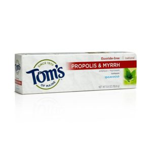 Tom's of Maine Fluoride-free Natural Toothpaste with Propolis and Myrrh, Spearmint 5.5-Ounce (Pack of 2)