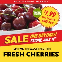 Whole Foods Market: $1.99/lb WA-Grown Cherries Friday Only