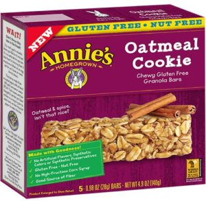 Annie's Chewy Gluten Free Granola Bars, Oatmeal Cookie, 4.9 Ounce