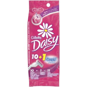 Gillette Daisy Comfort Hold Pivot Disposable Womens Razor 10 Count + 1 Free Simply Venus Pink Womens Razor