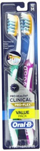 Oral-B Pro-Health Clinical Pro-Flex Medium Toothbrush 2 Count, (Colors May Vary)