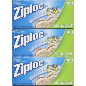 Ziploc Sandwich Bags Value Pack 100 ct (Pack Of 3)