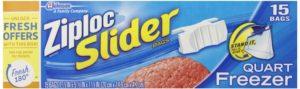 Ziploc Slider Freezer Bags Quart 15 ct (Pack Of 3)