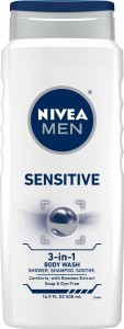 Nivea For Men Sensitive Body Wash 3-in-1 Body, Hair & Face, 16.9-Ounce Bottle (Pack of 3)