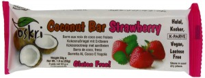 Oskri Coconut Bar with Strawberry, Gluten Free, 1.9-Ounce Bars (Pack of 20)