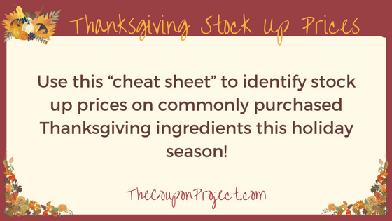 Download your Thanksgiving Stock-up Prices printable here!