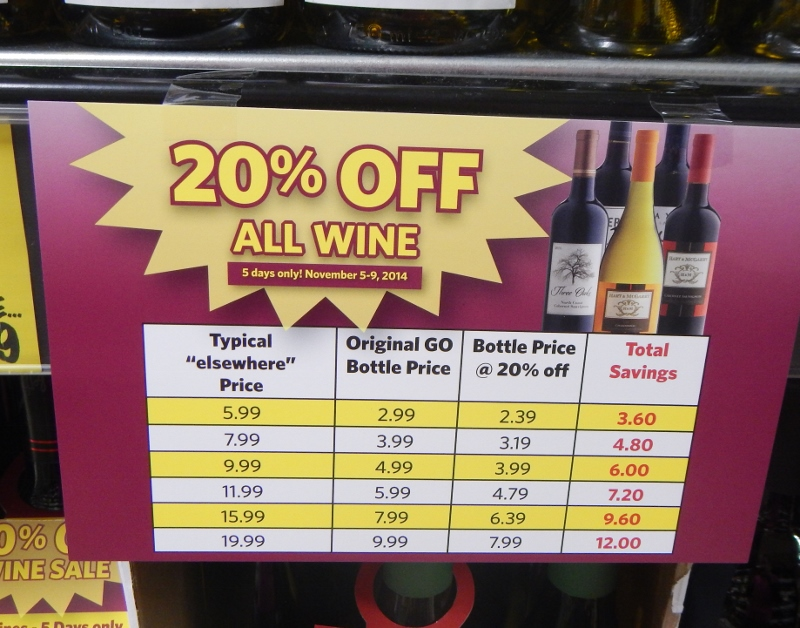 Grocery Outlet 20% off All Wine - Price sheet