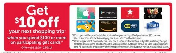Safeway: Gift Card Promotion Offer (Buy $100, get $10)
