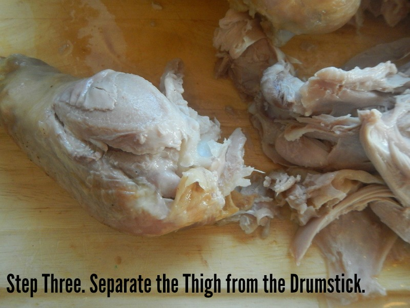 Separate the thigh from the drumstick