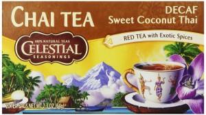 Celestial Seasonings Chai Decaf Tea, Sweet Coconut Thai, 20-Count Tea Bags (Pack of 6)