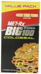 MET-Rx Big 100 Colossal Peanut Butter Pretzel, 3.52 oz Bars, 4 Count