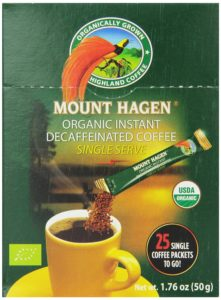 Mount Hagen Organic Instant Decaffeinated Coffee, 25-Count Single Serve Sticks