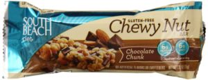South Beach Diet Gluten Free Chewy Nut Bar, Chocolate Chunk, 1.23 oz (35g) Bars, 12 Count
