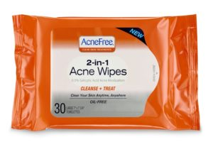 AcneFree 2-in-1 Acne Wipes 30ct Oil Free Facial Towelettes
