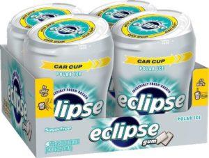 Eclipse Sugar Free Gum, Polar Ice, 60 Piece Big E Bottles (Pack of 4)