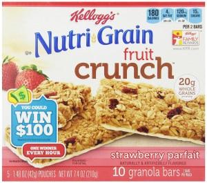 Kellogg's Nutri-Grain Fruit Crunch, Strawberry Parfait, 7.4 Ounce