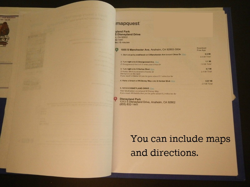 Including maps & directions for a family vacation folder.