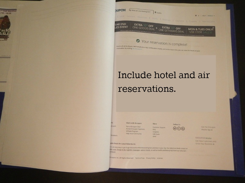 Printing out hotel and air reservations for your family's vacation folder.