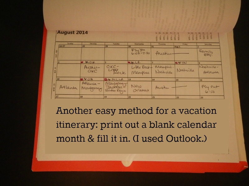 Easy method for planning a vacation itinerary.
