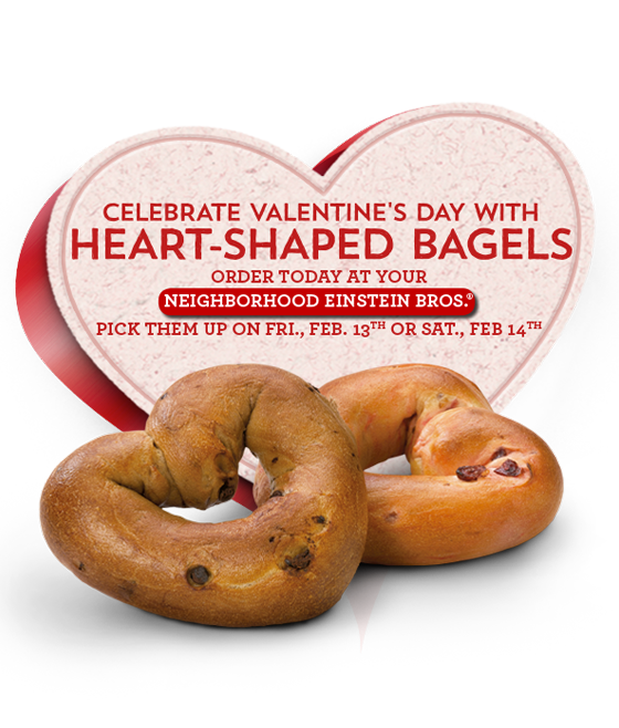 Einstein Bros heart shaped bagels