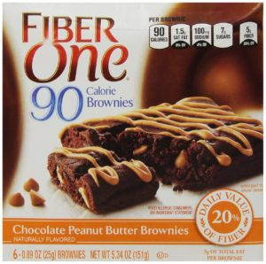 Fiber One 90 Calorie Brownies, Chocolate, Peanut Butter, 5.34-Ounce (Pack of 4)