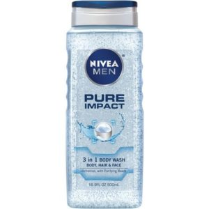 Nivea Men Pure Impact 3-in-1 Body Wash, 16.9 Ounce (Pack of 3)