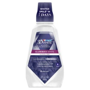 Crest 3D White Glamorous White Multi-Care Whitening Fresh Mint Flavor Mouthwash 32 fl. Oz., Pack of 3 (packaging may vary)