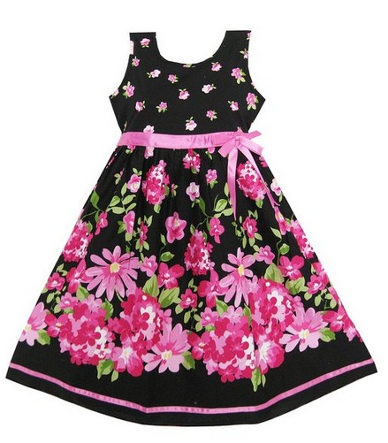 Easter Dress with Hot Pink Flowers