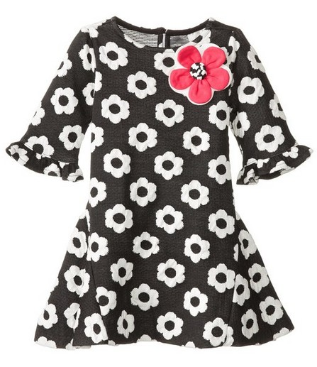 Easter Dress Black/White with Flowers
