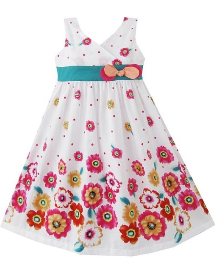Easter Dress Pink & Yellow Sunflowers with Belt & Bow