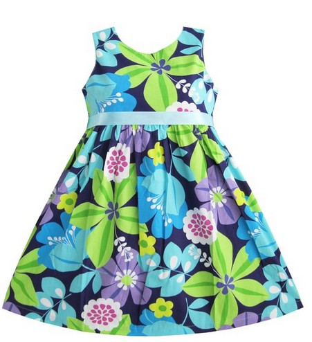 Easter Dress Flower Print Dress with Belt