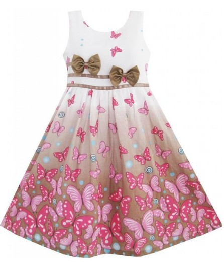 Easter Dress with Brown Butterflies
