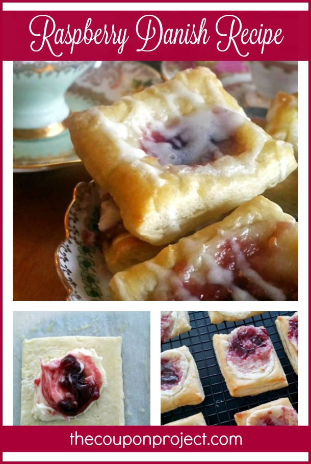 Raspberry Danish Recipe – perfect for a spring time tea party! Uses puff pastry to make the process easier.