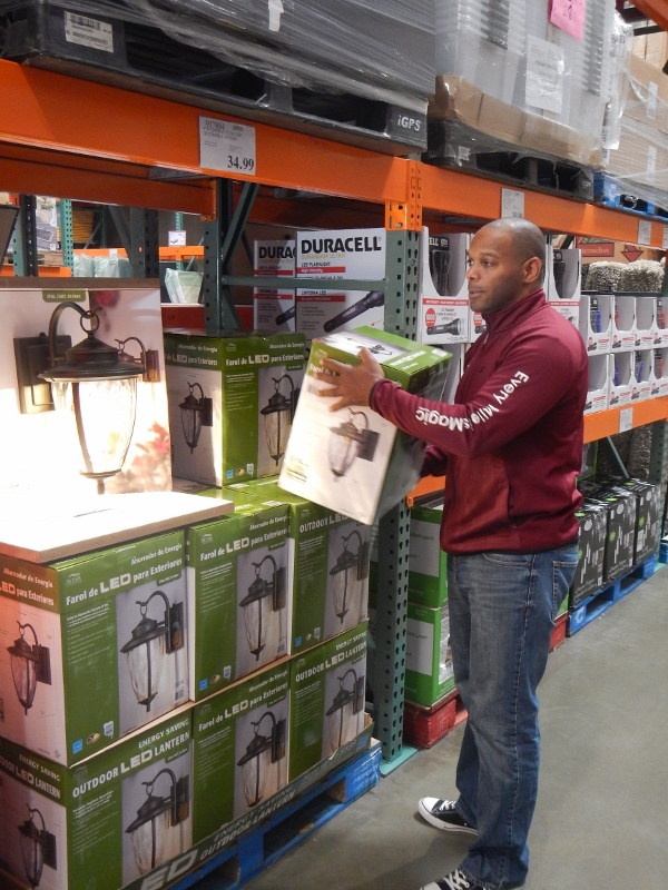 Buying outdoor lights at Costco.